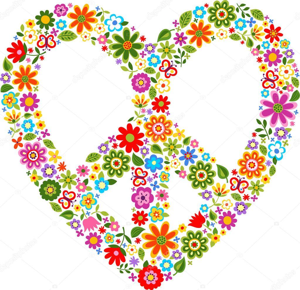 Favorit symbole de paix du coeur avec motif floral — Image vectorielle  TM99