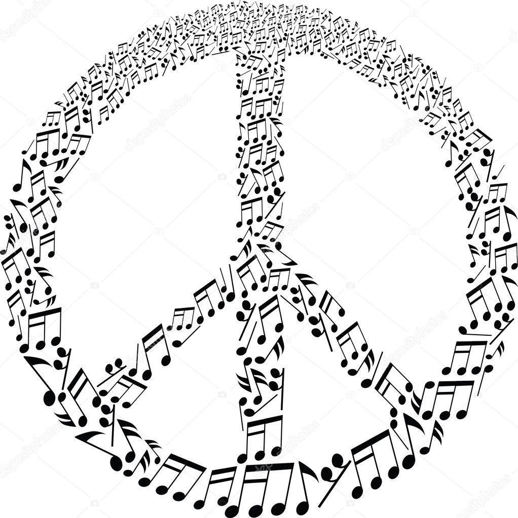 Friedenszeichen mit Noten Muster — Stockvektor © pauljune #23168124