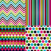 nahtlose Streifen, Zickzack und Polka Dots-Hintergrund