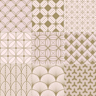 Seamless gold and pink geometric pattern