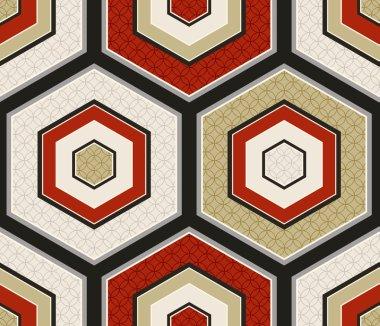 Seamless japanese hexagon crest pattern