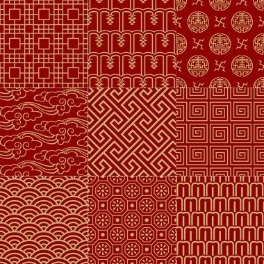 Seamless traditional auspicious chinese mesh pattern stock vector