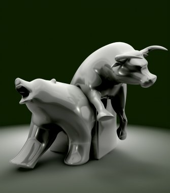 Bull And Bear Economic Trend Statue