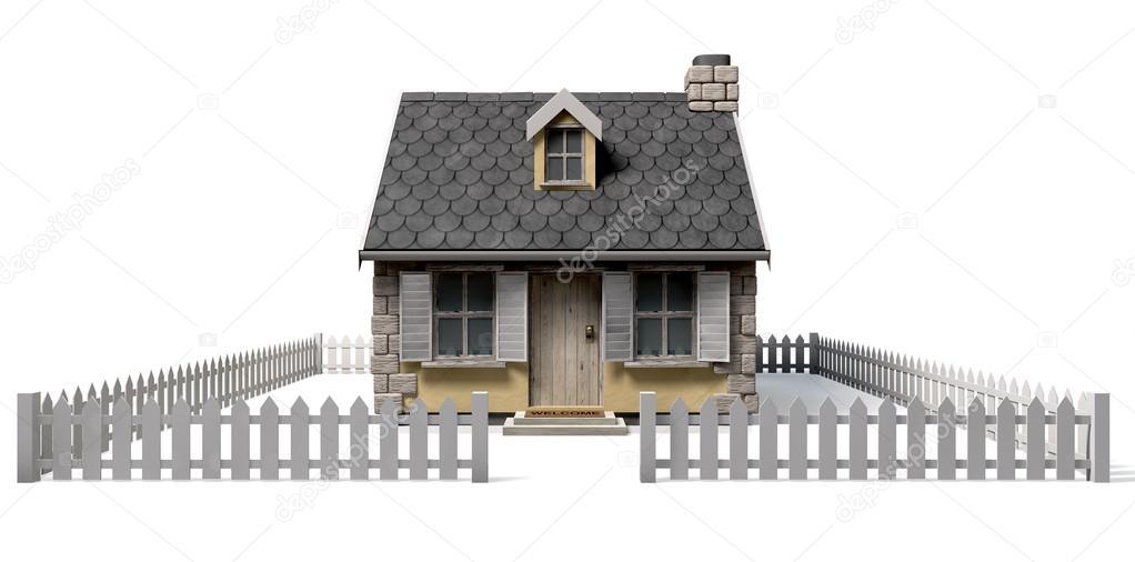 Casa caratteristico cottage con giardino e steccato foto for Piani casa cottage shotgun