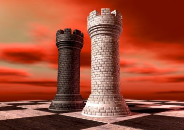 A black and a white castle chess piece made of brick and mortar opposing each other on a chess board against a red cloudy sky stock vector