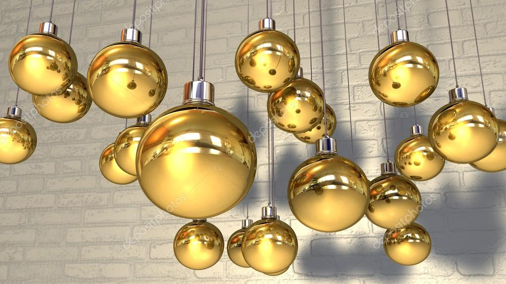 Gold Christmas Baubles Hanging Against A Wall — Stock Photo © albund ...