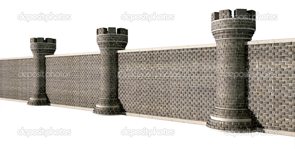 A Perspective View Of Gothic Brick Wall Seperated By Evenly Spaced Turrets On An Isolated Background Photo Albund