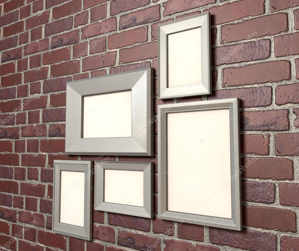 Marcos en blanco en una perspectiva de pared — Fotos de Stock ...