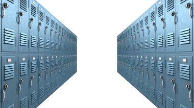 Blue School Lockers Aisle Perspective