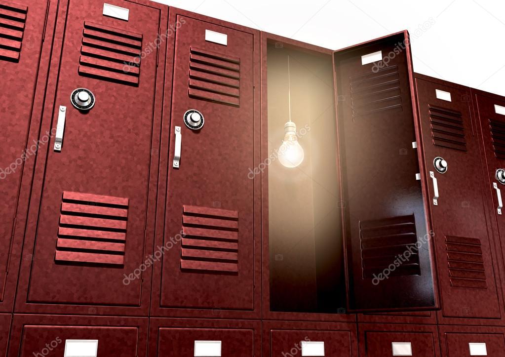 Armadi scuola rossa con lampadina all interno della prospettiva