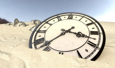 Antique Clocks In Desert Sand Closeup