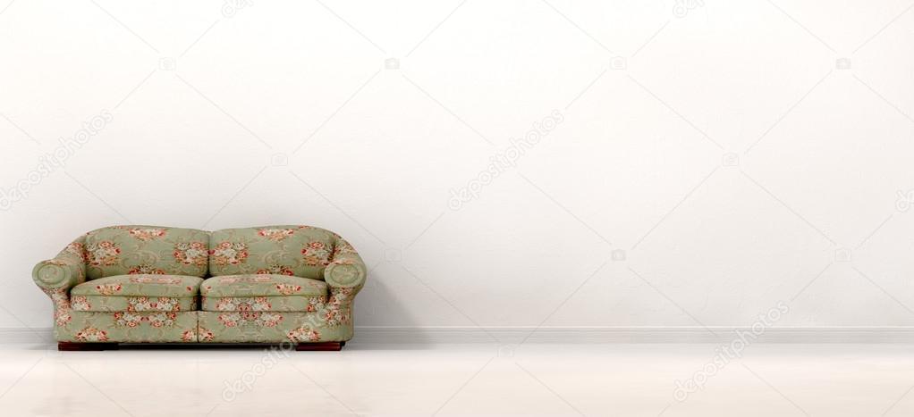 altes Sofa in leeren weißen Raum — Stockfoto © albund #26131441