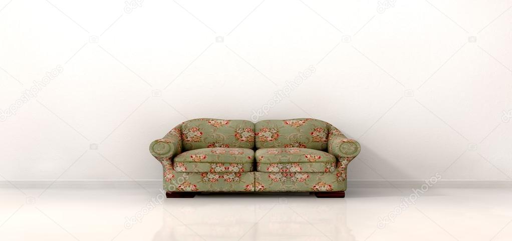 altes Sofa in leeren weißen Raum — Stockfoto © albund #26131449