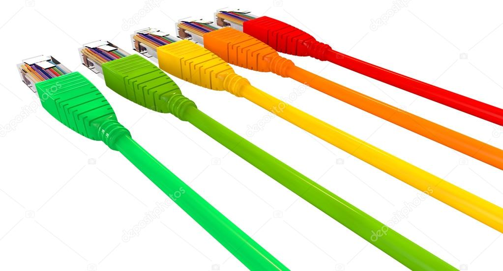 Ethernet Cables Unplugged Colors Pointing Away Close — Stock Photo ...