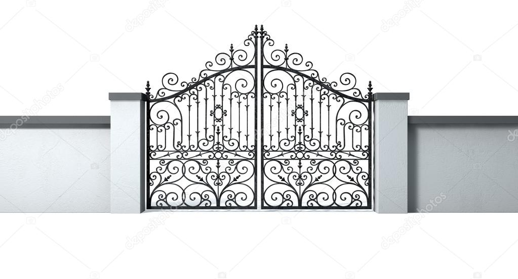 A Solid Plastered Garden Wall With An Ornate Shut Metal Gate On An Isolated  White Background U2014 Photo By Albund