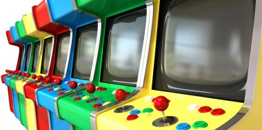 A flat row of vintage unbranded arcade games with joysticks and various colored buttons and a blank screen on an isolated white background stock vector