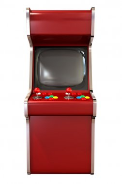 A vintage red unbranded arcade game with a joystick and four various colored buttons and a blank screen on an isolated white background stock vector