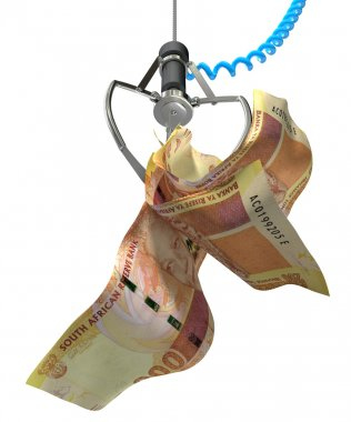 South African Rands In A Robotic Claw