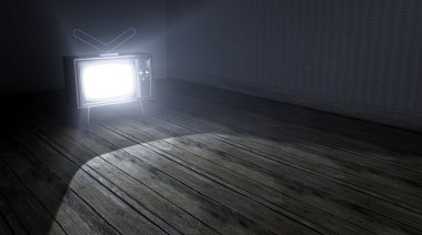 Empty Room With Illuminated Television
