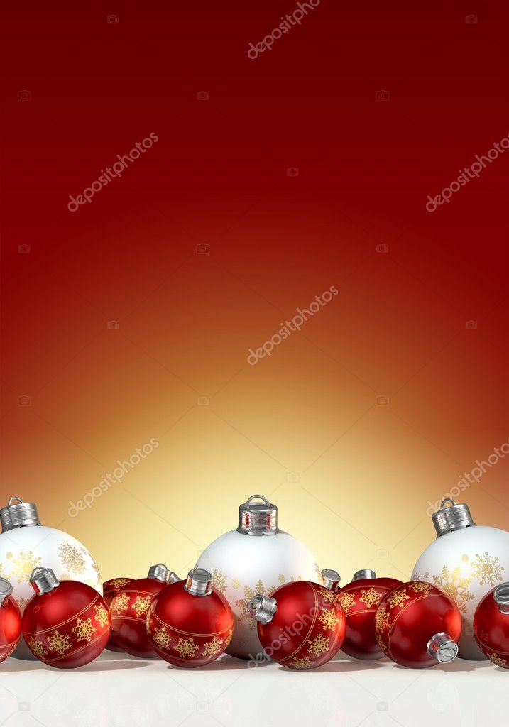 Rote Christbaumkugeln.Verzieren Matte Weisse Und Rote Christbaumkugeln Stockfoto