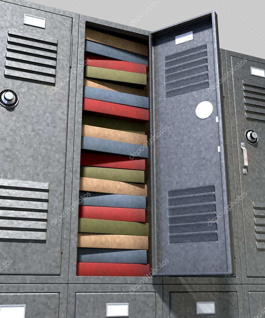 School Locker Crammed Books Stock Photo C Albund 49309399