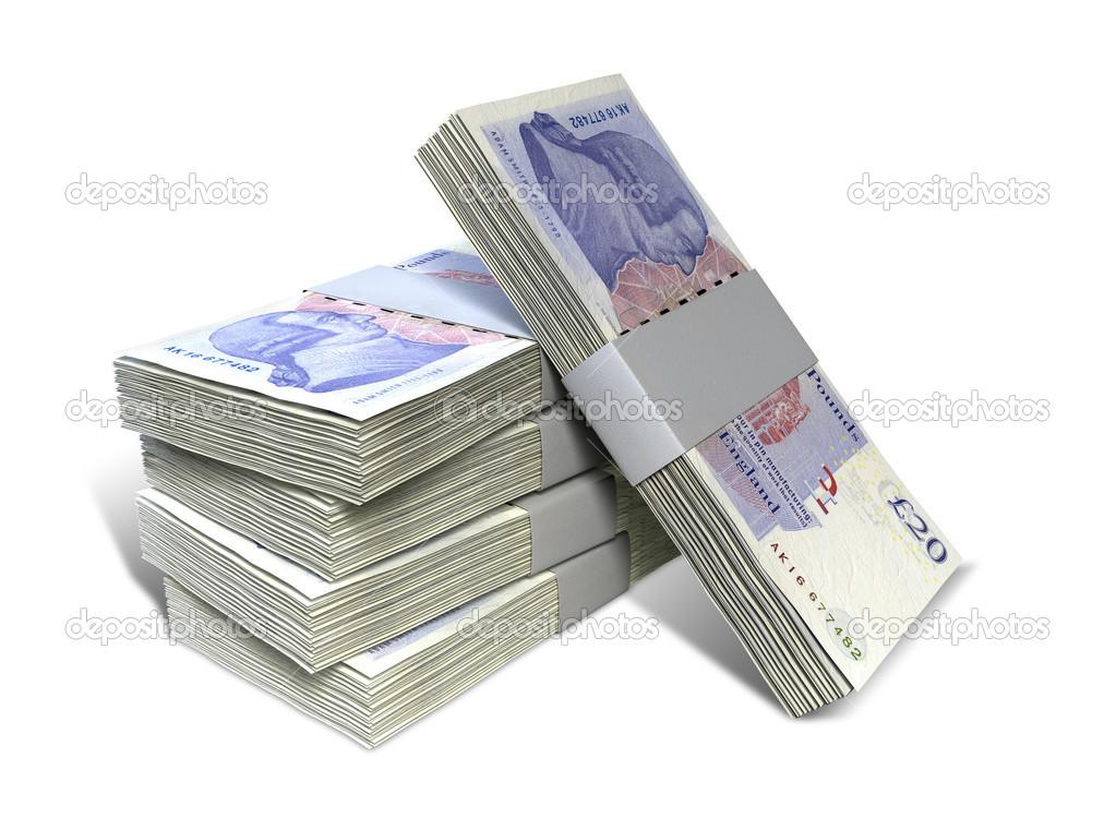 British Pound Sterling Notes Bundles Stack Stock Photo Albund Bundled