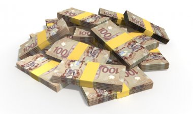 Canadian Dollar Notes Scattered Pile