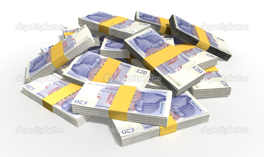 British Pound Sterling Notes Scattered Pile Stock Photo Albund Randomly
