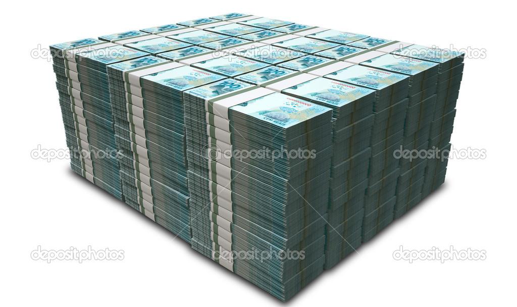 Notas de reais brasileiras — Fotografia de Stock