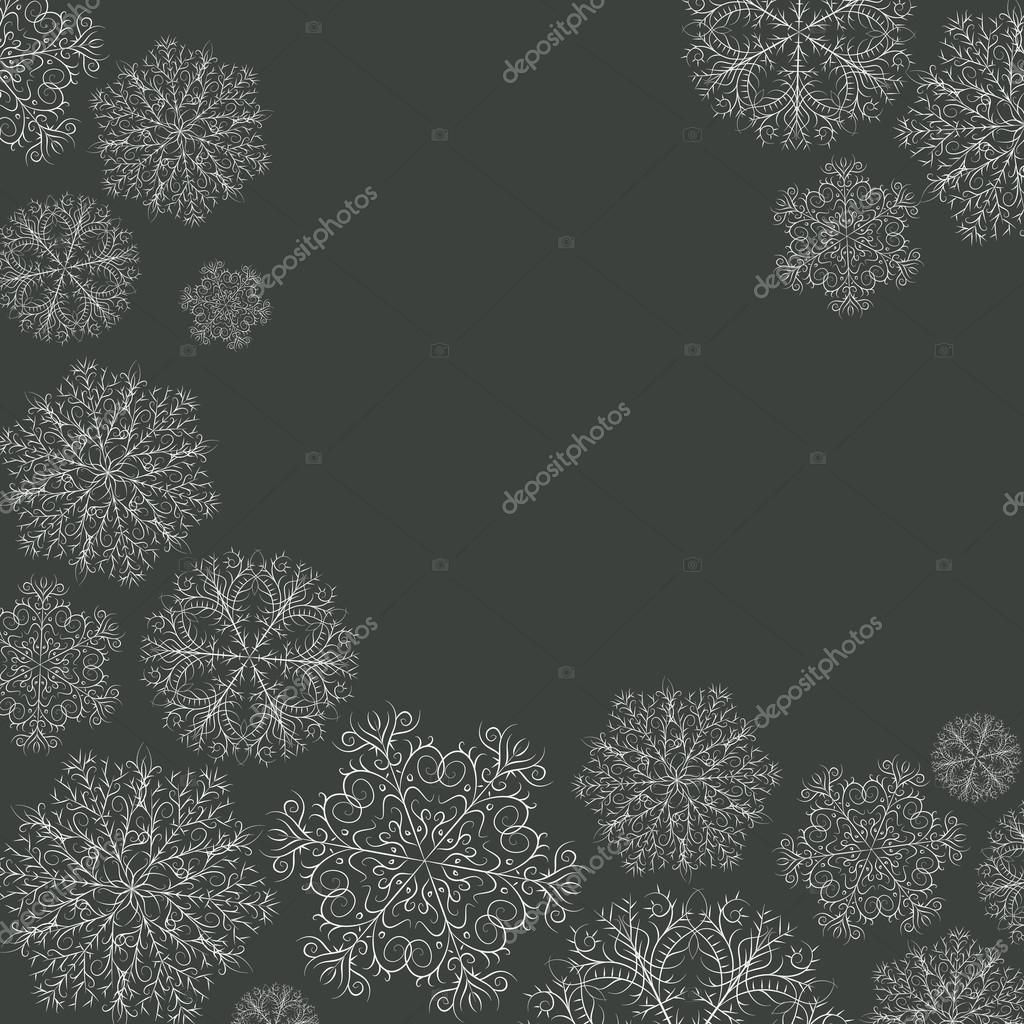 Stilvolle Weihnachtskarte Mit Handgezeichneten Schneeflocken