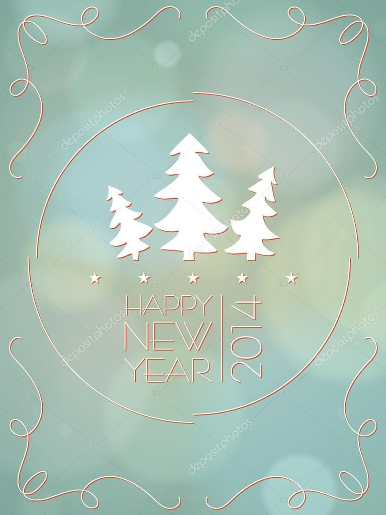 happy new year card vintage with bokeh vector illustrator stock vector