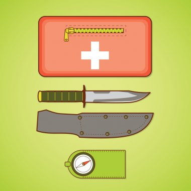 Camping equipment. First aid kit, knife and cover, compass. Vect