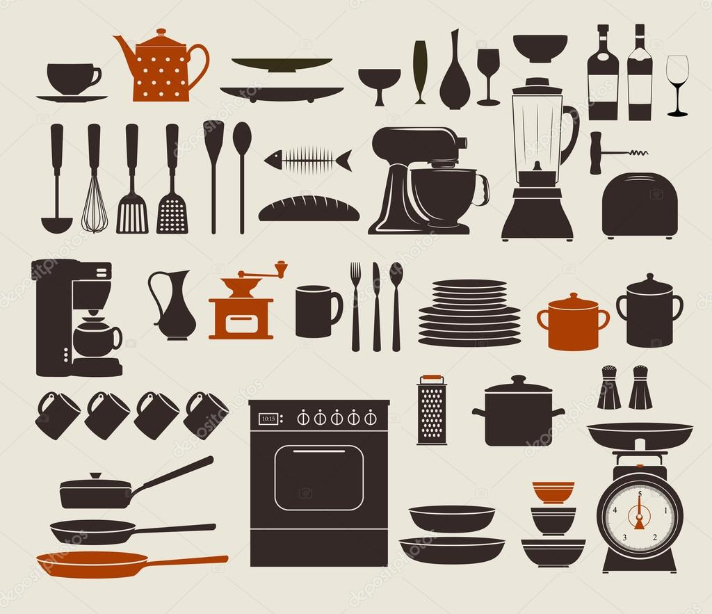 Uncategorized Kitchen Utensils And Appliances kitchen appliances stock vector lanan 27317373 set of icons including stove pots frying pens bowls dishes and various utensils by lanan