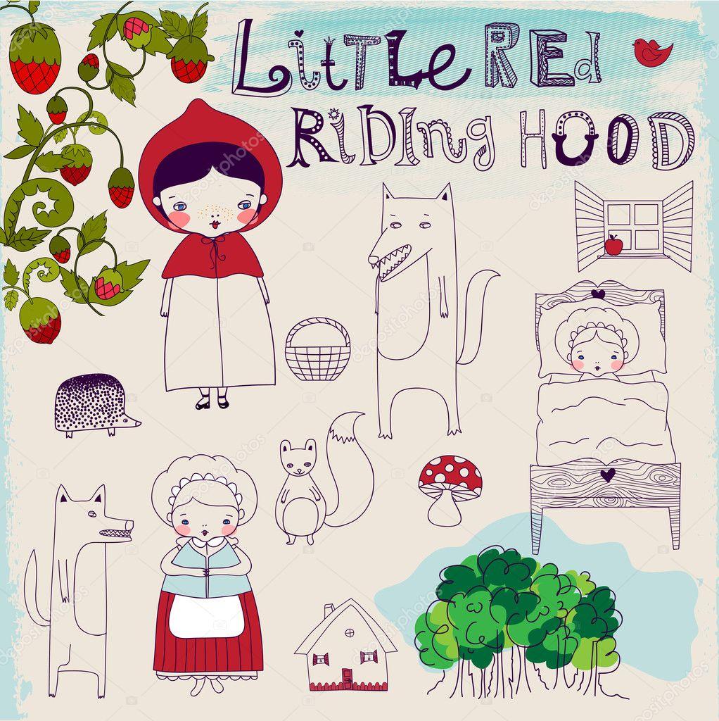 Caperucita roja pequeña campana fairytale — Vector de stock © LanaN ...