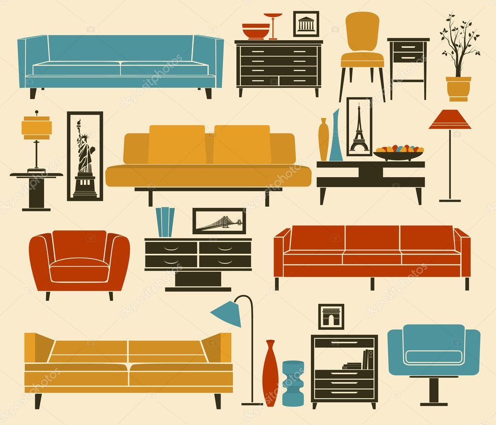 retro style furniture. retro style furniture including sofas love seat armchairs coffee table side tables and home decoration u2014 vector by lanan e