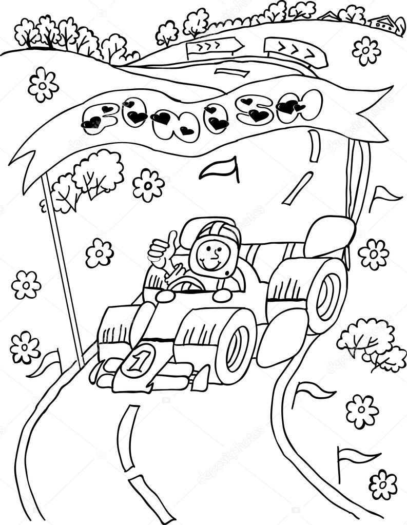 Раскраска гоночный автомобиль. Раскраска гоночного ...