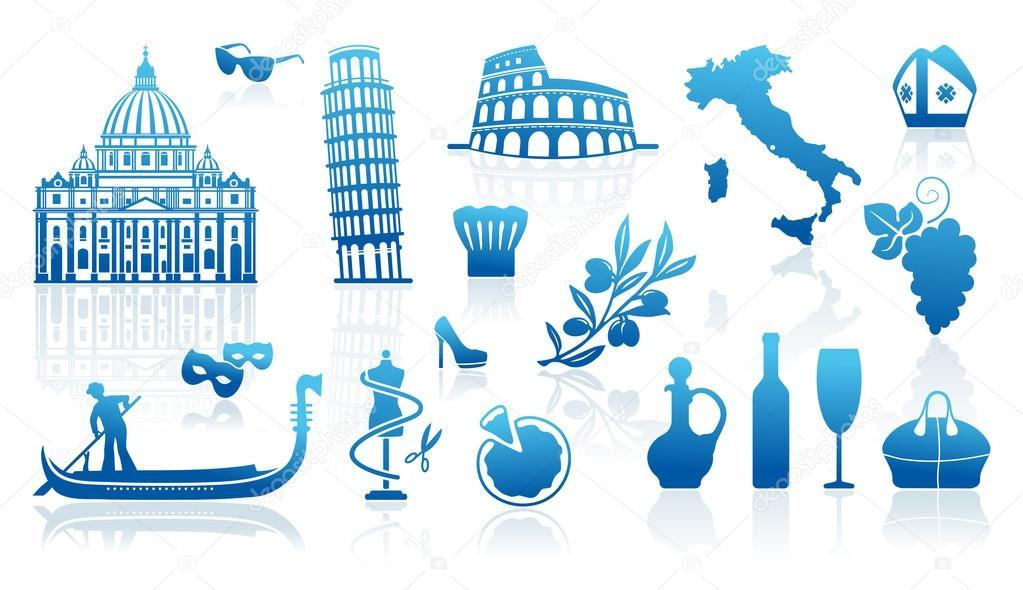 Traditional Symbols Of Italy Stock Vector Klava 21186163