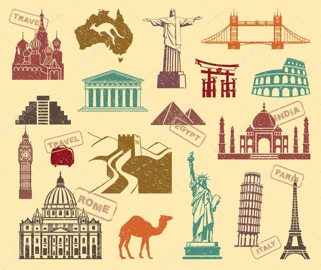 Symbols Of Travel Stock Vector Klava 31045727