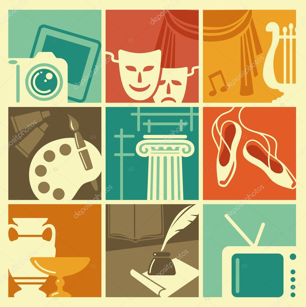 Vintage symbols of various arts stock vector