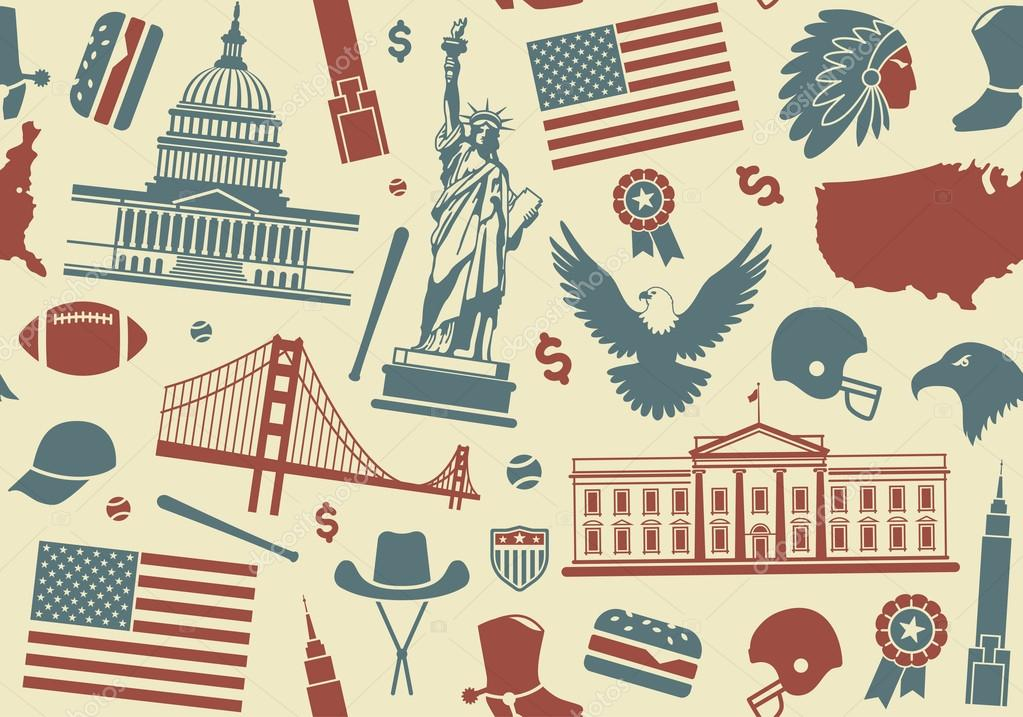 Seamless Background With Symbols Of The Usa Stock Vector Klava