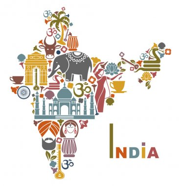Traditional symbols in the form of a map of India stock vector
