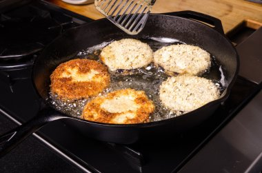 Frying eggplant in cast iron skillet