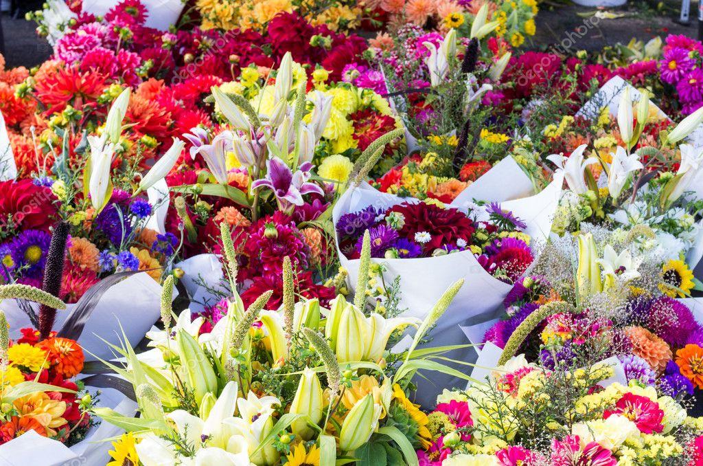 Display of flower arrangements at the market