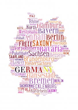 Germany map and words cloud with larger cities