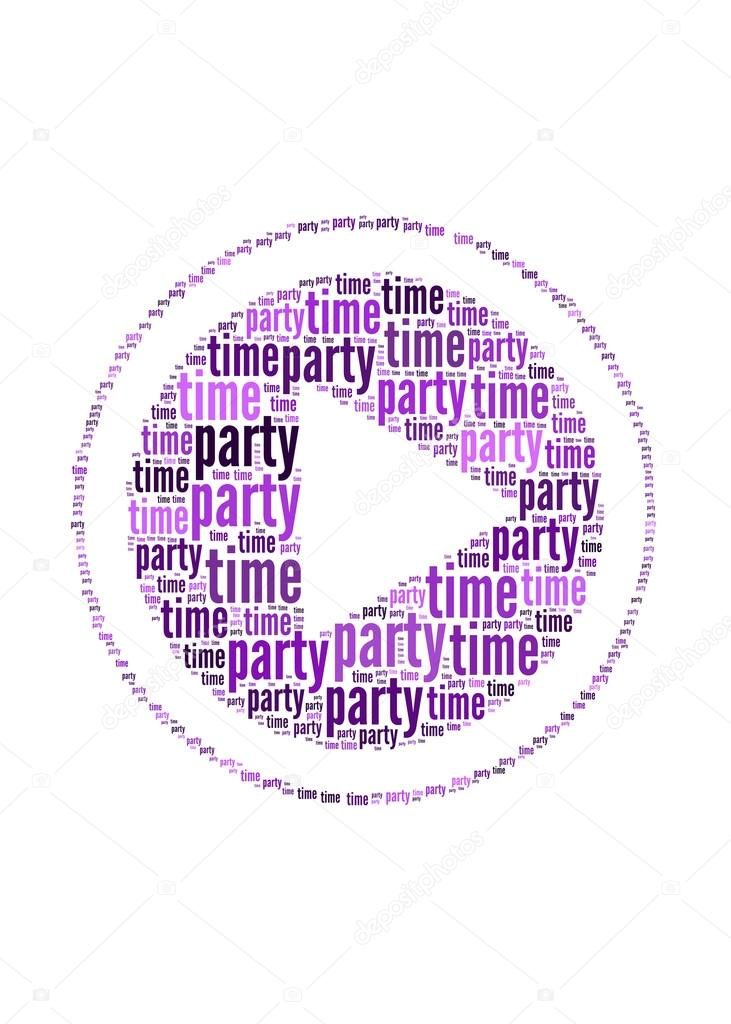 Party Time Text On Play Symbol Graphic And Arrangement Concept