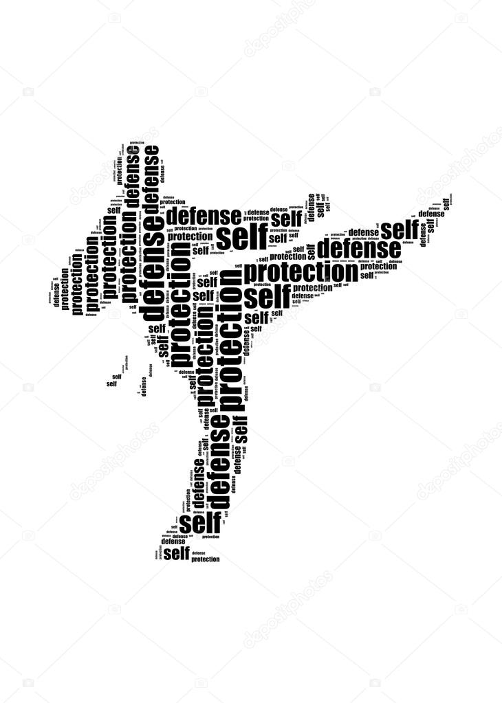 Self defence and protection text kick graphic and arrangement co
