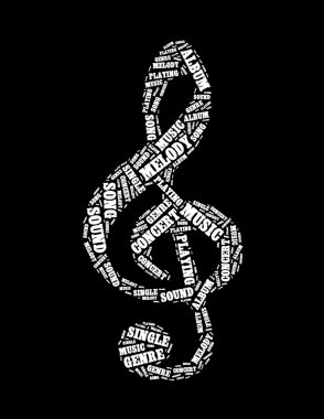 Music text collage Composed in the shape of treble clef
