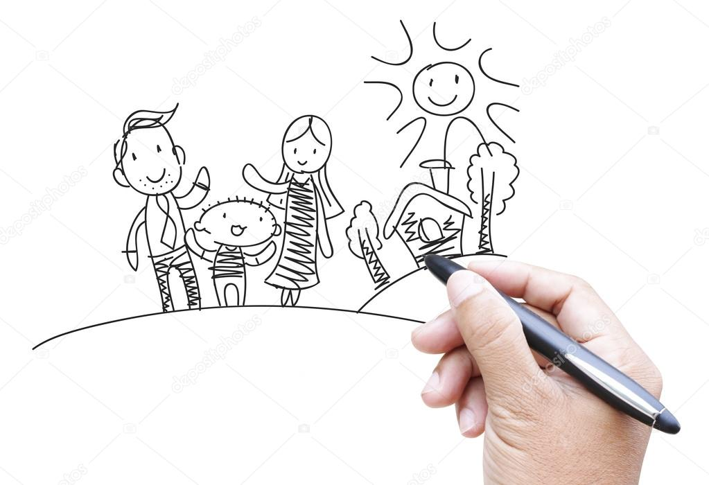 Family Cartoon By Hand Drawing Stock Photo C Supakitmod 13243857