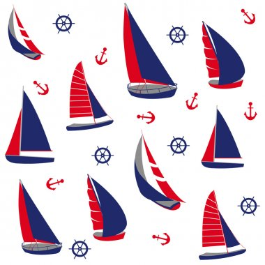 Seamless pattern with nautical elements clip art vector