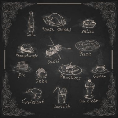 Design Elements For The Menu On The Chalkboard.